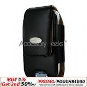 CyonGear Universal Noble Vertical Leather Pouch w/ Button Closure - Black (BL)