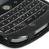 Premium Blackberry Bold Monaco Vertical Leather Book-Type Pouch w/ Swivel Clip - Black