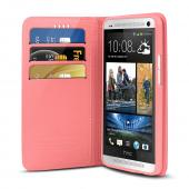 Hot Pink/ Baby Pink Faux Leather Diary Flip Stand Case w/ ID Slots & Bill Fold for HTC One