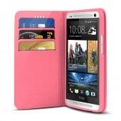 White/ Hot Pink CellLine Faux Leather Diary Flip Stand Case w/ ID Slots & Bill Fold for HTC One