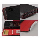 Black/ Red Faux Leather Diary Case w/ Wrist Strap & ID Slots for Apple iPhone 5/5S