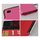Pink/ Red Faux Leather Diary Case w/ Wrist Strap & ID Slots for Apple iPhone 5