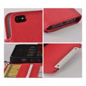 Red/ Black Faux Leather Diary Case w/ Wrist Strap & ID Slots for Apple iPhone 5
