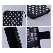 White Polka Dots on Black Faux Leather Diary Case Pouch w/ Wrist Strap for iPhone 5/5S