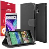Black RED SHIELD Faux Leather Diary Flip Stand Case w/ ID Slots, Bill Fold, & Magnetic Closure + Free Screen Protector for HTC One (M8)