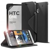 Black CellLine Faux Leather Diary Flip Case w/ ID Slots, Bill Fold, & Magnetic Closure for HTC One