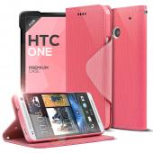 Hot Pink/ Baby Pink CellLine Faux Leather Diary Flip Case w/ ID Slots, Bill Fold, & Magnetic Closure for HTC One