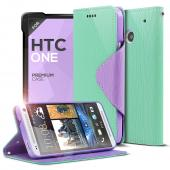 Mint/ Lavender CellLine Faux Leather Diary Flip Case w/ ID Slots, Bill Fold, & Magnetic Closure for HTC One
