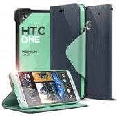 Navy Blue/ Mint CellLine Faux Leather Diary Flip Case w/ ID Slots, Bill Fold, & Magnetic Closure for HTC One