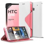 White/ Hot Pink CellLine Faux Leather Diary Flip Case w/ ID Slots, Bill Fold, & Magnetic Closure for HTC One
