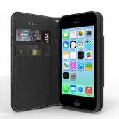 Black Faux Leather Diary Flip Case w/ ID Slots, Bill Fold, Magnetic Closure & Free Screen Protector for Apple iPhone 5C