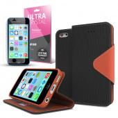 Black/ Brown  Faux Leather Diary Flip Case w/ ID Slots, Bill Fold, Magnetic Closure & Free Screen Protector for Apple iPhone 5C