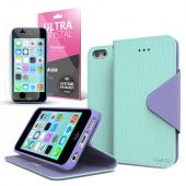 Mint/ Lavender Faux Leather Diary Flip Case w/ ID Slots, Bill Fold, Magnetic Closure & Free Screen Protector for Apple iPhone 5C