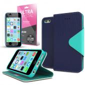 Navy/ Mint Faux Leather Diary Flip Case w/ ID Slots, Bill Fold, Magnetic Closure & Free Screen Protector for Apple iPhone 5C