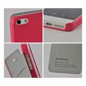 Hot Pink Mercury Nylon Fancy Diary Case w/ ID Slot for Apple iPhone 5