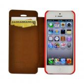 Red Mercury Nylon Fancy Diary Case w/ ID Slot for Apple iPhone 5