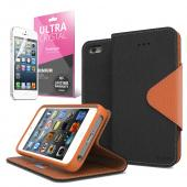 Black/ Brown CellLine Faux Leather Diary Flip Case w/ ID Slots, Bill Fold, Magnetic Closure & Free Screen Protector for Apple iPhone 5/5S