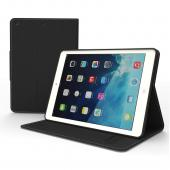 Black CellLine Faux Leather Diary Flip Case w/ ID Slots, Bill Fold, & Magnetic Closure for Apple iPad Air