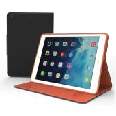 Black/ Brown CellLine Faux Leather Diary Flip Case w/ ID Slots, Bill Fold, & Magnetic Closure for Apple iPad Air