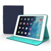 Navy/ Mint CellLine Faux Leather Diary Flip Case w/ ID Slots, Bill Fold, & Magnetic Closure for Apple iPad Air