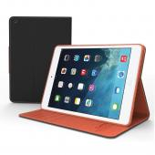 Black/ Brown Faux Leather Diary Flip Case w/ ID Slots, Bill Fold, Magnetic Closure for Apple iPad Mini 1/2