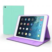 Mint/ Lavender Faux Leather Diary Flip Case w/ ID Slots, Bill Fold, Magnetic Closure for Apple iPad Mini 1/2