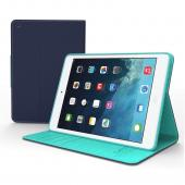 Navy/ Mint Faux Leather Diary Flip Case w/ ID Slots, Bill Fold, Magnetic Closure & Free Screen Protector for Apple iPad Mini 1/2