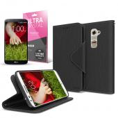 Black CellLine Faux Leather Diary Flip Case w/ ID Slots, Bill Fold, Magnetic Closure & Free Screen Protector for LG G2