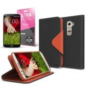 Black/ Brown CellLine Faux Leather Diary Flip Case w/ ID Slots, Bill Fold, Magnetic Closure & Free Screen Protector for LG G2 (AT&T, Sprint, T-Mobile Compatible)