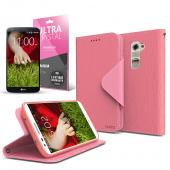 Hot Pink/ Baby Pink CellLine Faux Leather Diary Flip Case w/ ID Slots, Bill Fold, Magnetic Closure & Free Screen Protector for LG G2 (AT&T, Sprint, T-Mobile Compatible)