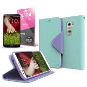 Mint/ Lavender CellLine Faux Leather Diary Flip Case w/ ID Slots, Bill Fold, Magnetic Closure & Free Screen Protector for LG G2 (AT&T, T-Mobile, & Sprint)