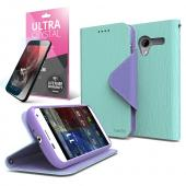 Mint/ Lavender CellLine Faux Leather Diary Flip Case w/ ID Slots, Bill Fold, Magnetic Closure & Free Screen Protector for Motorola Moto X