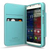 Navy/ Mint Faux Leather Diary Flip Case w/ ID Slots, Bill Fold, Magnetic Closure & Free Screen Protector for Motorola Moto X