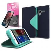 Navy/ Mint CellLine Faux Leather Diary Flip Case w/ ID Slots, Bill Fold, Magnetic Closure & Free Screen Protector for Motorola Moto X