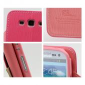 Hot Pink/ Baby Pink Exclusive CellLine Faux Leather Diary Flip Case w/ ID Slots & Bill Fold for Samsung Galaxy S3