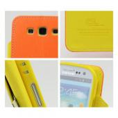 Orange/ Yellow Exclusive CellLine Faux Leather Diary Flip Case w/ ID Slots & Bill Fold for Samsung Galaxy S3