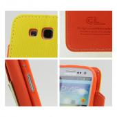 Yellow/ Orange Exclusive CellLine Faux Leather Diary Flip Case w/ ID Slots & Bill Fold for Samsung Galaxy S3