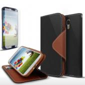Black/ Brown Exclusive AccessoryGeeks Faux Leather Diary Flip Case w/ ID Slots & Bill Fold + Free Screen Protector for Samsung Galaxy S4