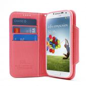 Hot Pink/ Pink Exclusive AccessoryGeeks Faux Leather Diary Flip Case w/ ID Slots & Bill Fold + Free Screen Protector for Samsung Galaxy S4