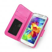 Galaxy S5 Wallet Case by REDShield | [Baby Pink/Hot Pink] Faux Leather TPU Case w/ Credit Card Slots, Wrist Strap, Stand Mode + Free Screen Protector