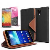 Black/ Brown CellLine Faux Leather Diary Flip Case w/ ID Slots, Bill Fold, Magnetic Closure & Free Screen Protector for Samsung Galaxy Note 3