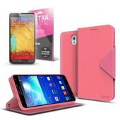 Hot Pink/ Baby Pink Faux Leather Diary Flip Case w/ ID Slots, Bill Fold, Magnetic Closure & Free Screen Protector for Samsung Galaxy Note 3