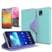 Mint/ Lavender Faux Leather Diary Flip Case w/ ID Slots, Bill Fold, Magnetic Closure & Free Screen Protector for Samsung Galaxy Note 3