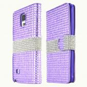 Lavender Bling w/ Silver Samsung Galaxy Note 4 Faux Leather Diary Flip Case w/ ID Slots, Bill Fold, & Magnetic Closure - Keep Everything You Need in 1 Place!