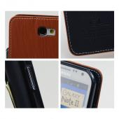 Brown/ Navy Blue Exclusive CellLine Faux Leather Diary Flip Case w/ ID Slots & Bill Fold for Samsung Galaxy Note 2