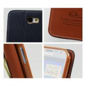 Navy Blue/ Brown Exclusive CellLine Faux Leather Diary Flip Case w/ ID Slots & Bill Fold for Samsung Galaxy Note 2