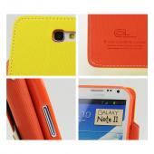 Yellow/ Orange Exclusive CellLine Faux Leather Diary Flip Case w/ ID Slots & Bill Fold for Samsung Galaxy Note 2