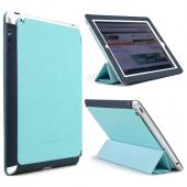 Mint/ Navy iRoo LS-Series Faux Leather Slide-In Case w/ Smart Cover for Apple iPad 2/3/4