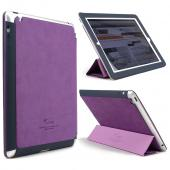 Purple/ Navy iRoo LS-Series Faux Leather Slide-In Case w/ Smart Cover for Apple iPad 3/4