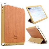 Wood Grain/ Brown iRoo LS-Series Faux Leather Slide-In Case w/ Smart Cover for Apple iPad 3/4